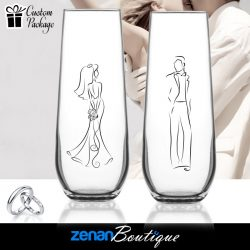 Wedding Boutique Packages - (a) Bride & Groom Silhouette on Stemless Flute