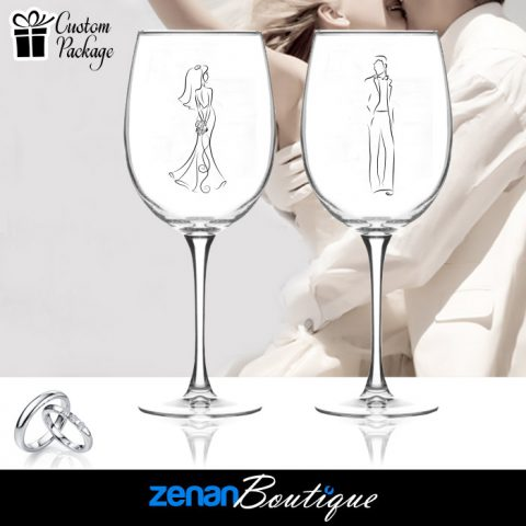 Wedding Boutique Packages - Bride & Groom Silhouette On Wine Glass