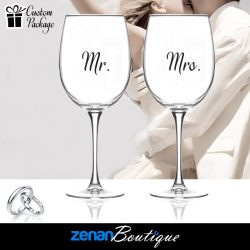 "Wedding Boutique Packages - ""Mr & Mrs"" V3 On Wine Glass"