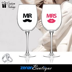 "Wedding Boutique Packages - ""Mr & Mrs"" V2 On Wine Glass"