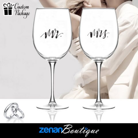 "Wedding Boutique Packages - ""Mr & Mrs"" V1 On Wine Glass"