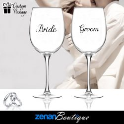 "Wedding Boutique Packages - ""Bride & Groom"" On Wine Glass"