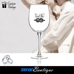 "Wedding Boutique Packages - ""Tied the Knot"" On Wine Glass"