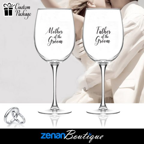 "Wedding Boutique Packages - ""Mother & Father of Groom"" On Wine Glass"