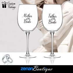 "Wedding Boutique Packages - ""mother & father of bride"" On Wine Glass"