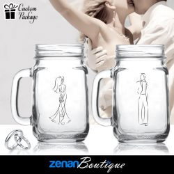 Wedding Boutique Packages - Bride & Groom Silhouette on Mason Jar