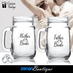 "Wedding Boutique Packages - ""mother & father of bride"" on Mason Jar"