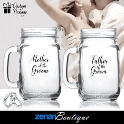 "Wedding Boutique Packages - ""Mother & Father of the Groom"" on Mason Jar"