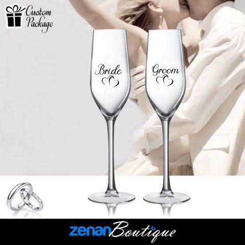 "Wedding Boutique Packages – ""Bride & Groom"" On flute"