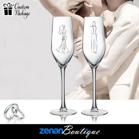 Wedding Boutique Packages – Bride & Groom Silhouette On flute