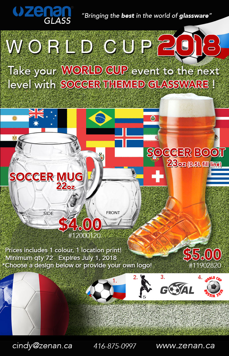 World Cup 2018 Soccer Themed Glassware