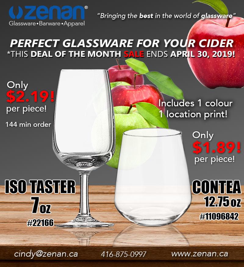 Cider deal of the Month April 2019 Zenan Glass